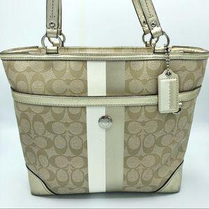 EUC Coach Leather Bag - Beige & White